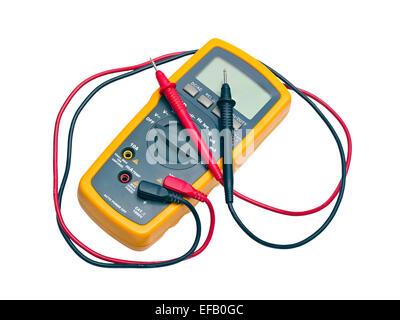 Digital yellow multimeter isolated on white background - Stock Photo