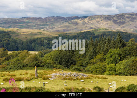 A single ancient standing stone in the Mid-Argyll landscape on the A816 North of Kilmartin near Craigdhu and Ardfern - Stock Photo