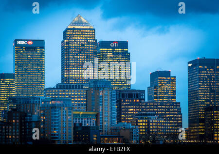 Canary Wharf viewed from Limehouse on the north bank of the Thames - Stock Photo