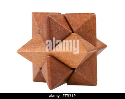 Wood puzzle in the shape of a star - Stock Photo