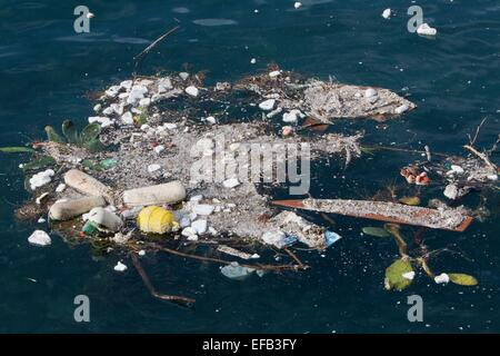 plastic pollution at the Italian coast near Naples - Stock Photo
