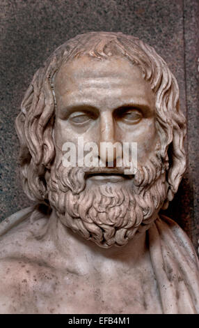 Bust of Euripides c. 480 – 406 BC great tragedian of classical Athens Marble, Roman copy after a Greek original - Stock Photo