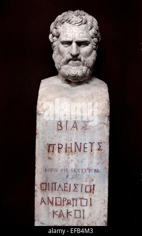 """Bust of Bias bearing the inscription """"Bias of Priene"""". Marble, Roman copy after a Greek original. From the villa - Stock Photo"""