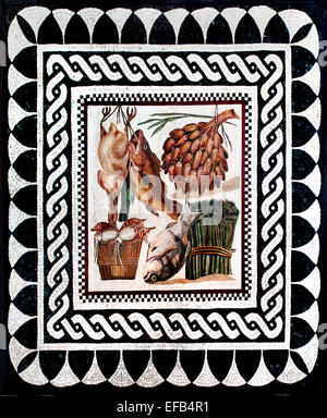 Mosaic with still life found in the villa Numisia Procula on the Via Ardeatina Roman 2 Century AD    Vatican Rome - Stock Photo