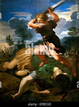 David killing Goliath by Cortona, Pietro da (Berrettini) (1596-1669) Pinacoteca Vatican Museum Rome Italy - Stock Photo