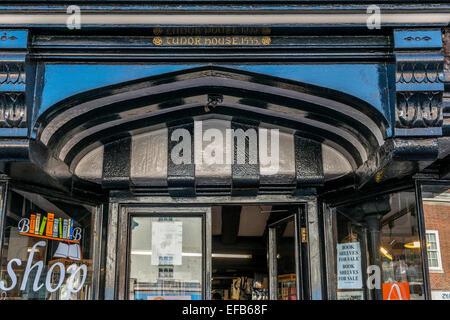 Tudor House 1555. Now a bookshop. East Grinstead High Street. West Sussex. England. UK - Stock Photo