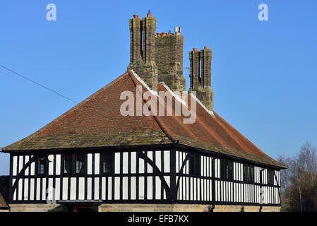 Detail of a Grade II listed 1920s semi-detached cottage in the village of Turners Hill. West Sussex. England. UK - Stock Photo
