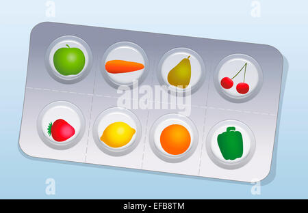 Pills that look like fruits and vegetables in a blister pack. - Stock Photo