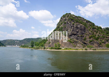 Lorelei rock, shale rock in the UNESCO World Heritage Upper Middle Rhine Valley near St. Goar, St. Goar, Germany, - Stock Photo