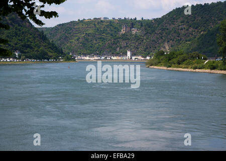 Burg Katz at the Lorelei rock, shale rock in the UNESCO World Heritage Upper Middle Rhine Valley near St. Goar, - Stock Photo