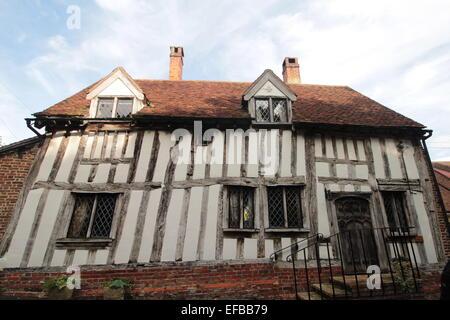 Half-timbered medieval cottage in Barn Street, Lavenham, Suffolk, United Kingdom. - Stock Photo