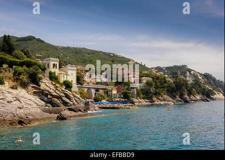 Europe Italy Zoagli Mediterranean coast Liguria Sea Ligurian - Stock Photo