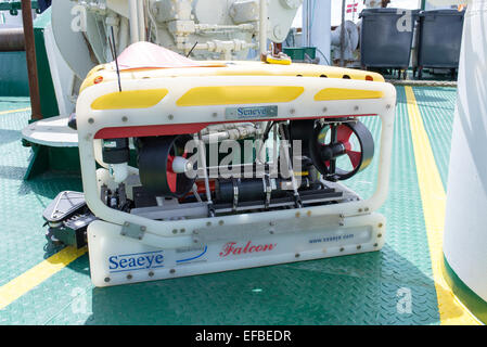 Seaeye Falcon, Remote Operated Vehicle (ROV) on board of a research vessel - Stock Photo
