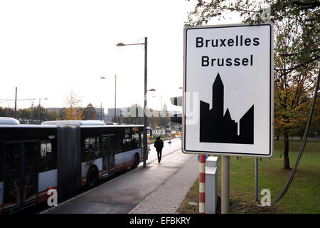 Bus stop for Public transport near the Entrance sign of the City of Brussels the capital of Belgium - Stock Photo