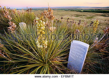 Memorial marker for unnamed U.S. soldier, Little Bighorn Battlefield National Monument, Montana. - Stock Photo