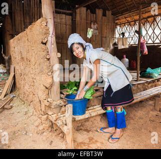 Attractive young Burmese long neck woman in Karen Padong village near Chiang Rai, Thailand, washing vegetables in - Stock Photo