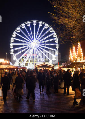 Christmas celebrations in Centenary Square, Birmingham. The German Market and big wheel. - Stock Photo