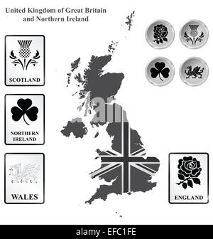 Monochrome flag signs and icons of the United Kingdom of Great Britain and Northern Ireland overlaid on outline - Stock Photo