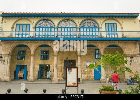 Cuba Old Havana La Habana Square Plaza Vieja facade Casa del Conde Jaruco 1737 was home Countess de Merlin novelist - Stock Photo