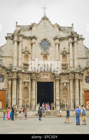 Cuba Old Havana Habana Vieja Catedral San Cristobal Baroque church St Saint Christopher Cathedral Baroque facade - Stock Photo
