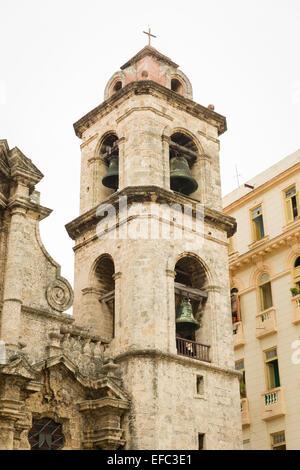 Cuba Old Havana Habana Vieja Catedral San Cristobal Baroque church St Saint Christopher Cathedral bell tower detail - Stock Photo