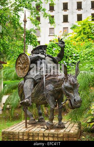 Cuba Old Havana Calle Obrapia modern contemporary statue of Sancho Panza servant companion of Don Quixote Quijote - Stock Photo