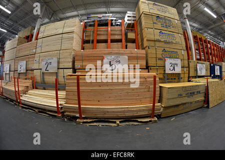 A fisheye lens view of lumber for sale at Home Depot in College Point, Queens, New York City. - Stock Photo