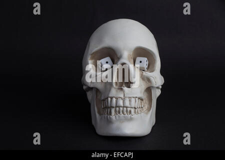 a Skull with die ones for eyes, snake eyes - Stock Photo