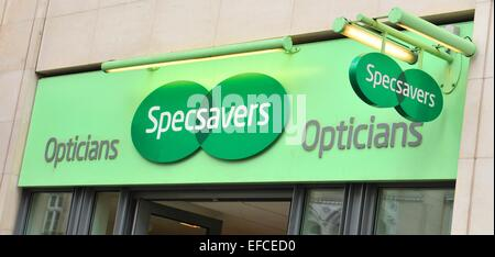 LONDON, UK. JULY 9, 2014: Close up of Sepcsavers logo. - Stock Photo
