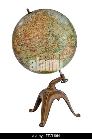 old antique desk top world globe on stand isolated on white - Stock Photo