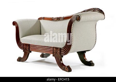 Antique classic sofa retro bright and elegant on white - Stock Photo