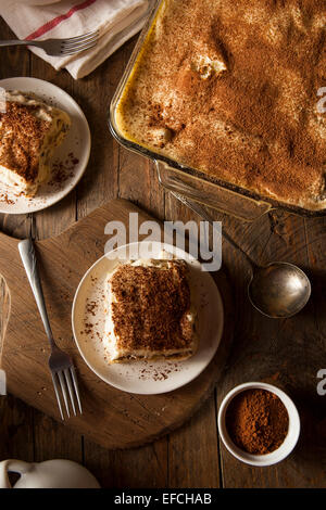 Homemade Tiramisu for Dessert with Coffee and Chocolate - Stock Photo