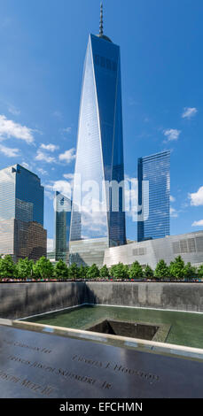 South Pool of National September 11 Memorial with One World Trade Center ('Freedom Tower') behind , New York City, - Stock Photo