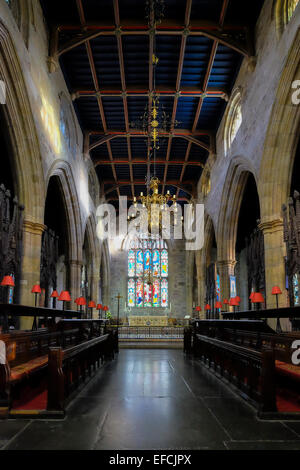 Inside St Mary's Priory Lancaster - Stock Photo