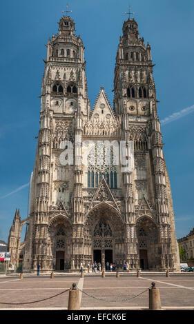 Saint Gatien Cathedral, Tours, Indre et Loire, France - Stock Photo