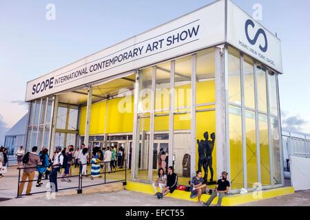 Miami Beach Florida Scope International Contemporary Art Show Art Basel satellite fair front entrance - Stock Photo
