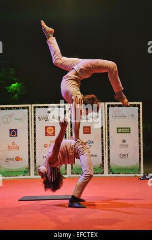 Phare Ponleu Selpak from Cambodia performing in Bangkok Street Show - Stock Photo