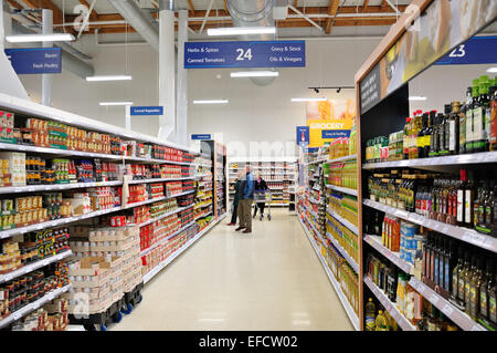 Interior of Tesco Supermarket Taplow, The Bishop Centre, Taplow, Buckinghamshire, England, United Kingdom - Stock Photo