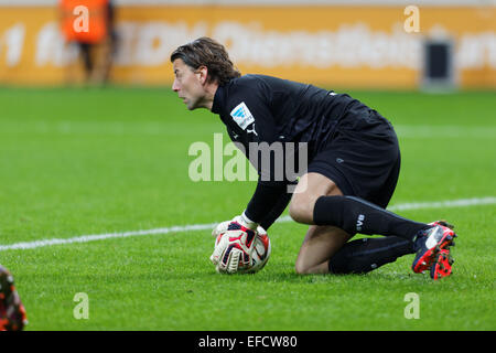 Leverkusen, Germany, Jan 31, 2015, soccer, Bayer Leverkusen vs Borussia Dortmund: Goalkeeper Roman Weidenfeller - Stock Photo