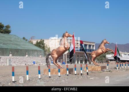 Bronze statue of arabic horses in the city of Fujairah, United Arab Emira - Stock Photo