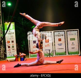 Phare Ponleu Selpak Cambodian circus troupe performing at the Street Show, Bangkok, Thailand - Stock Photo