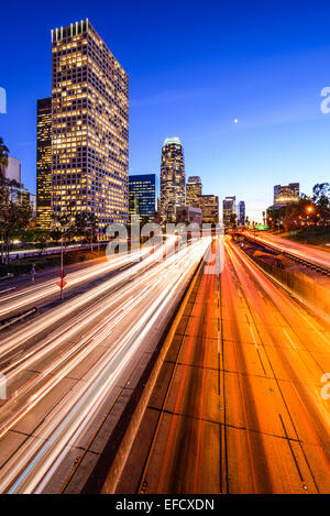 Los Angeles, California, USA downtown city skyline over the highway. - Stock Photo