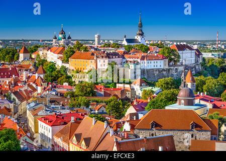 Tallinn, Estonia, old town skyline of Toompea Hill. - Stock Photo