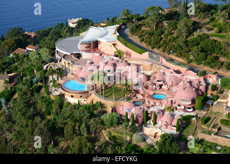 PALAIS BULLES (aerial view). Théoule-sur-Mer, Estérel Massif, Alpes-Maritimes, French Riviera, France. - Stock Photo