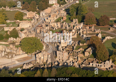 MARTYR VILLAGE (aerial view) Village destroyed in WW2 by German Troops. Oradour-sur-Glane, Haute-Vienne, Limousin, - Stock Photo