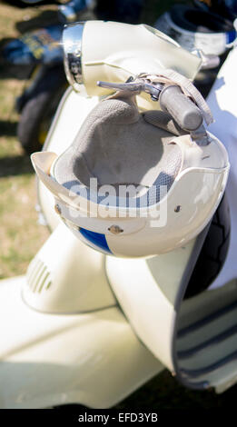 Vintage Style Motorcycle Crash Helmet. - Stock Photo