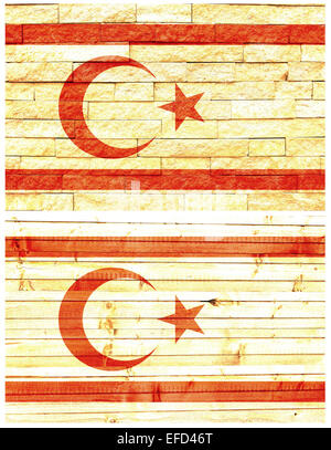 Vintage wall flag of Turkish Republic of Northern Cyprus - Stock Photo
