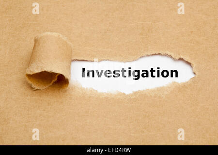 Investigation appearing behind torn brown paper. - Stock Photo