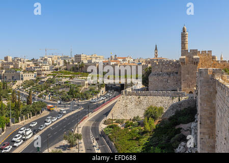 David Tower, Old City surrounding walls and urban view of Jerusalem, Israel. - Stock Photo