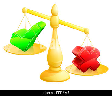 Choosing no concept of a scales with a cross on one side and a tick on the other, the cross outweighing the tick - Stock Photo